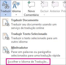 Escolher o idioma da tradução
