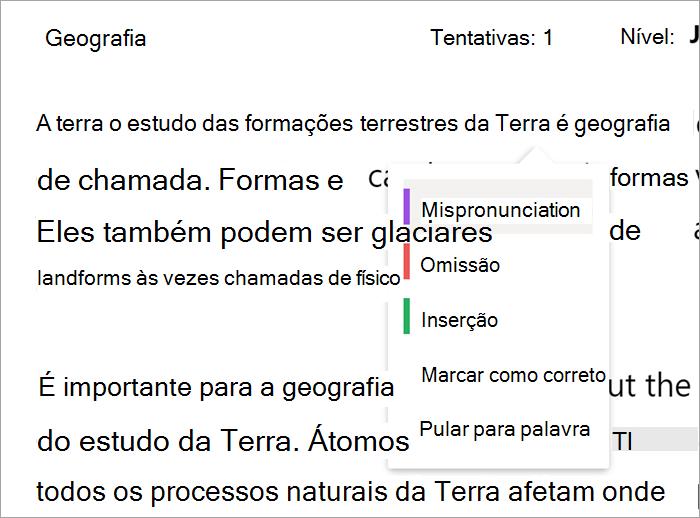 Captura de tela do menu suspenso de erro que ocorre quando você seleciona uma palavra lida incorretamente. As categorias no menu suspenso são: Erro de pronúncia, Omissão, Inserção, Marcar como correto, Ir para a palavra