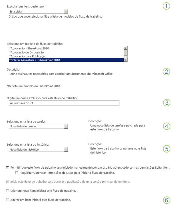 Primeira página do formulário de associação de uma única lista ou biblioteca