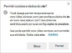 Captura de tela do aviso que é exibido quando um site solicita permissão para usar cookies e dados de site em outro site