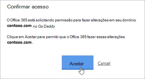Uma captura de tela do botão Aceitar na página GoDaddy Confirmar acesso.
