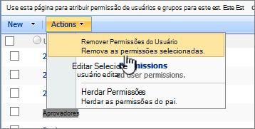 Remover permissões de usuário do menu de ação