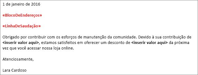 """Carta de mala direta de amostra no Word mostrando os campos """"bloco de endereço"""" e """"linha de saudação""""."""
