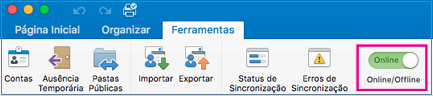 Controle deslizante de offline/Online na guia Ferramentas