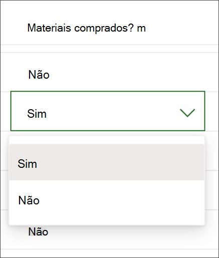 Captura de tela do Project para alterar o conteúdo de uma coluna Sim/não