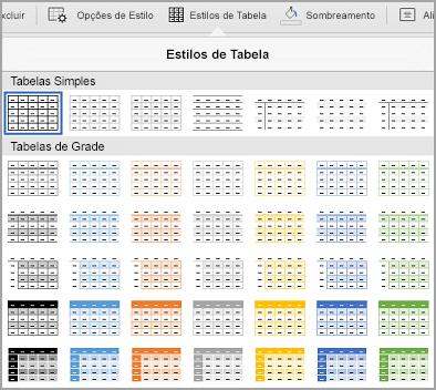Galeria de modelos de tabela de iPad