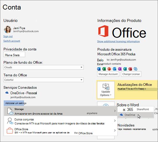 """O painel Conta nos aplicativos do Office, realçando a seleção de armazenamento do OneDrive para a opção """"Adicionar um serviço"""" em Serviços Conectados"""