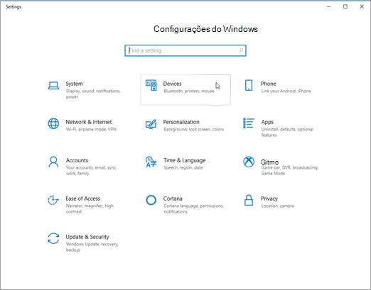 Pic de configurações de dispositivo do Windows