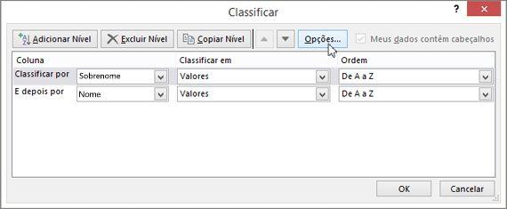 Clique em Classificar para abrir a caixa de diálogo Classificar