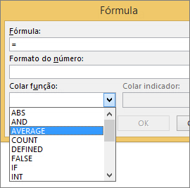 As funções de colagem de uma fórmula são mostradas da guia Layout de Ferramentas de Tabela.