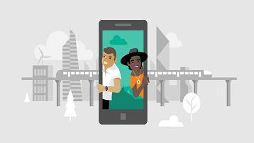Uma ilustração conceitual de pessoas viajando e tirando fotos com um smartphone.