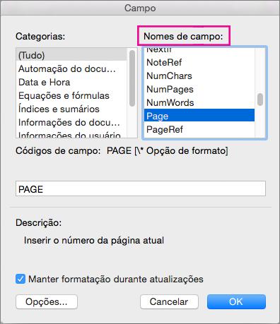 Em nomes de campos, selecione a página