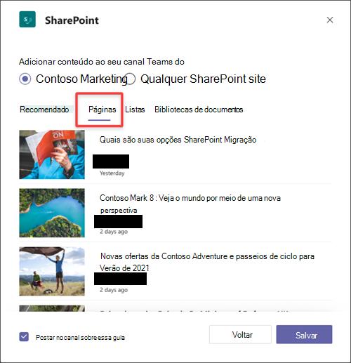 Adicionar uma SharePoint como uma guia no Teams