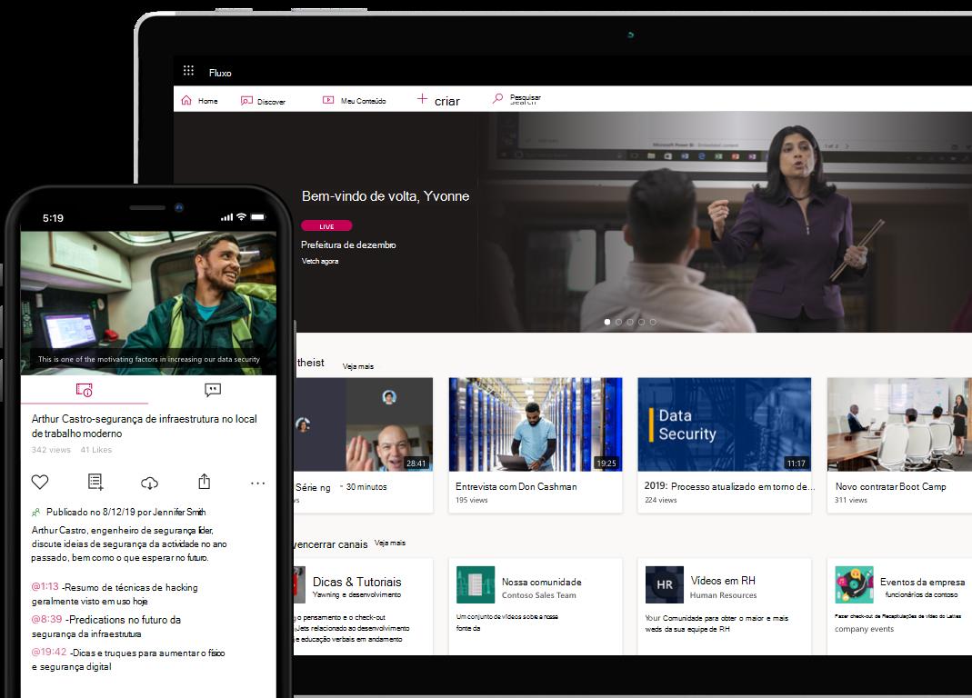 Fotos conceituais do Stream desktop e da interface de usuário de dispositivo móvel