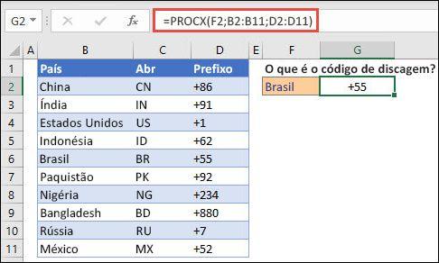 Exemplo da função PROCX usada para retornar o Nome e o Departamento de um Funcionário com base na ID do Funcionário. A fórmula é =PROCX(B2;B5:B14;C5:C14).