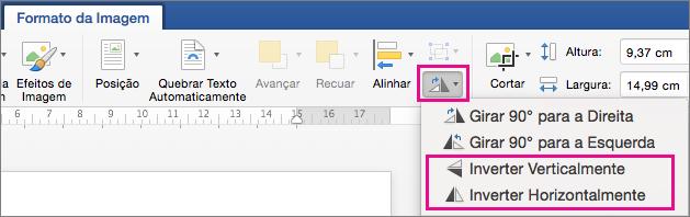 Na guia Formatar imagem, girar objetos está realçado
