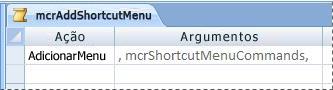 Uma macro de menu no modo Design