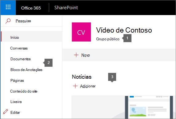 Home page do site de equipe do SharePoint