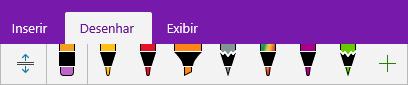 Galeria de canetas do OneNote mostrando canetas personalizadas