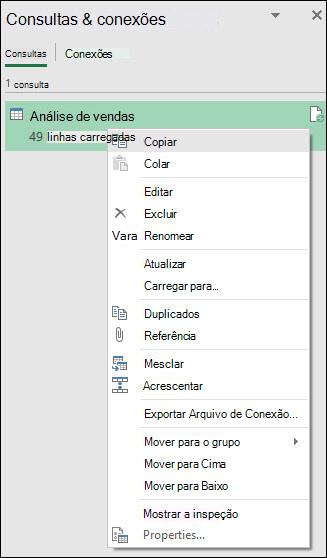 Consulta opções do menu do botão direito do mouse em conexões &