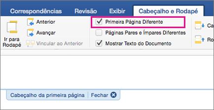 A configuração Primeira Página Diferente está realçada na guia Cabeçalho e Rodapé.