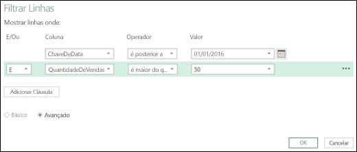 Caixa de diálogo Filtrar Linhas Avançada do Power BI do Excel no Editor de Consultas
