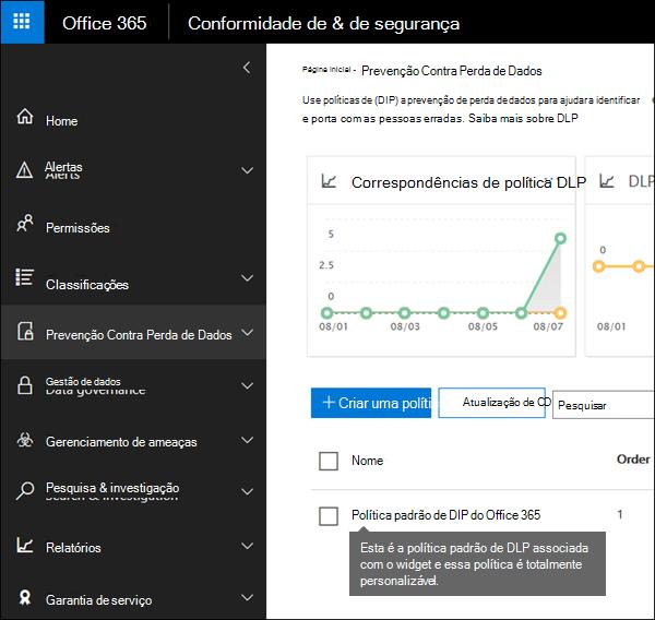 Política DLP chamada política padrão DLP do Office 365