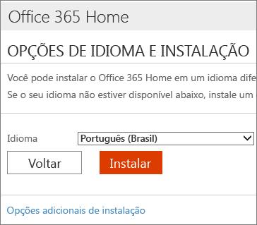 Na página Opções de instalação de idioma, selecione o link Opções adicionais de instalação