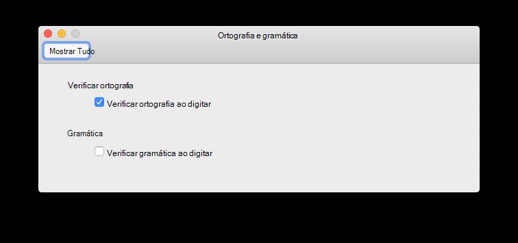 Verificar a ortografia como a preferência de digitação