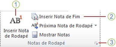 Word 2010: grupo Notas de Rodapé na guia Referências