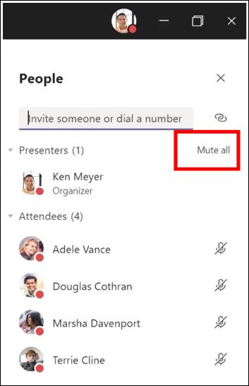 Você pode ativar o mudo para todos os participantes de uma reunião.