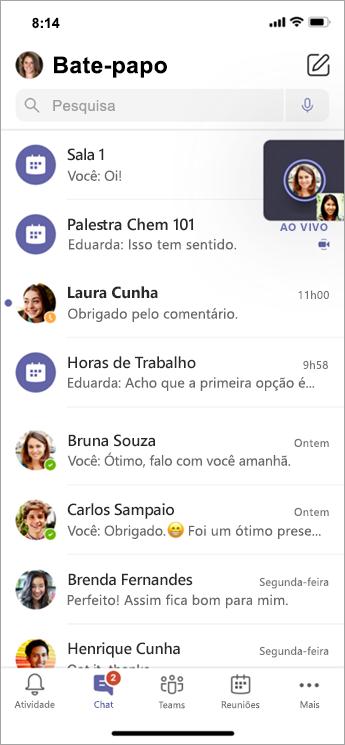 Chat da Sala Para Sessão de Grupo no dispositivo móvel.