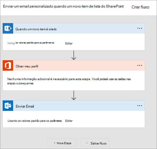 Siga as instruções no site da Microsoft Flow para conectar o fluxo