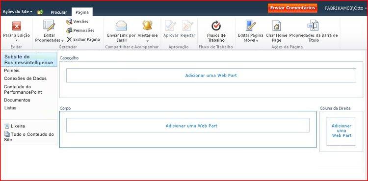 Uma página de Web Part contém zonas para adicionar Web Parts