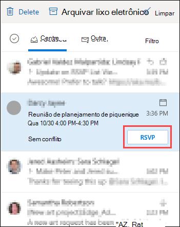 Solicitação de reunião na lista de mensagens com o realce de RSVP