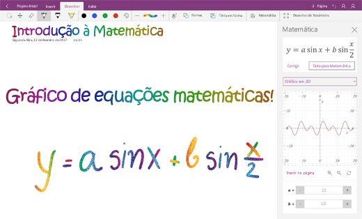 Equações matemáticas de gráfico no OneNote para Windows 10
