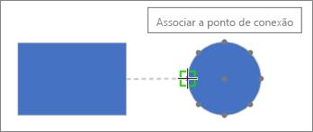 Forma de destino mostra uma dica de ferramenta: Unir a ponto de conexão