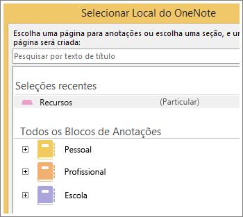 Captura de tela da janela do OneNote onde você pode escolher em que página deseja fazer anotações do Skype.