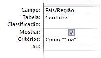 """A imagem do Designer de consulta que estão mostrando o critério acompanhado por operadores, """"como curinga em um"""""""