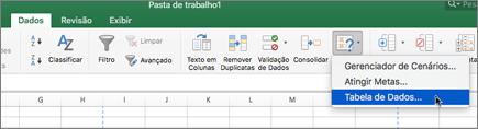 Opção de tabela de dados