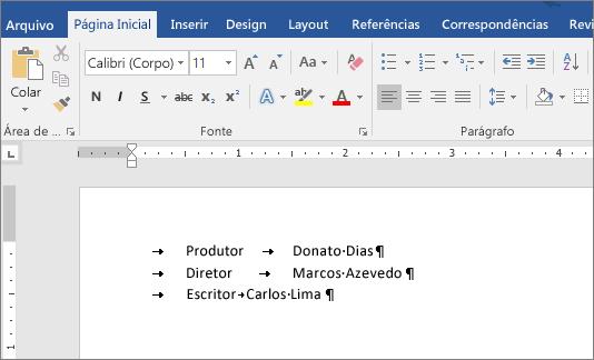 Um exemplo mostra o texto depois que as paradas de tabulação são removidas.