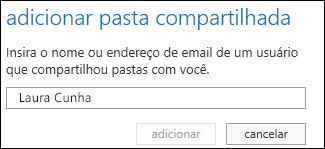 Caixa de diálogo Adicionar pasta compartilhada do Outlook Web App