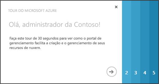 Captura de tela da página de boas-vindas do tour do Azure, que leva 30 segundos para mostrar a você como usar o portal de gerenciamento para criar e gerenciar recursos da nuvem.
