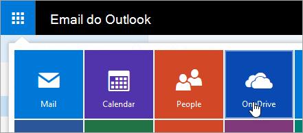 Uma captura de tela do lado do OneDrive no inicializador de aplicativos.