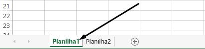 Guias de planilha do Excel estão na parte inferior da janela do Excel.