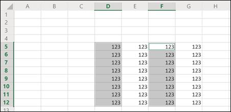 Intervalos descontínuos selecionados Excel para a Web