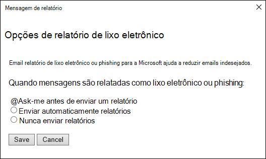 Captura de tela mostrando opções de mensagens relatada como lixo eletrônico ou phishing tentativas