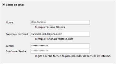 Inserir seu endereço de email e senha