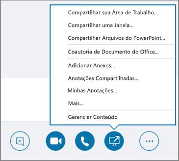 Captura de tela do menu Compartilhar Conteúdo aberto.