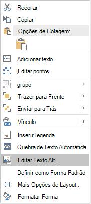 Menu de Win32 do Word editar texto Alt para formas